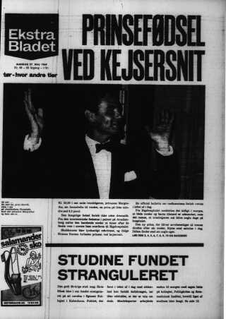 Ekstra Bladet havde som mange andre aviser nyheden om prinsefødslen på forsiden den 27. maj 1968.