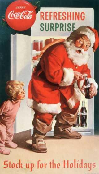 Denne julereklame for Coca-Cola viser julemanden i rødt tøj og med stort skæg - lige som vi kender ham i dag. Men Coca-Cola opfandt ikke denne version af julemanden.