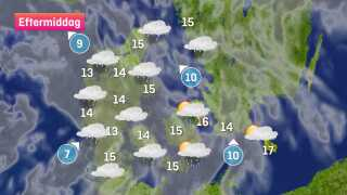 Vi får omkring 15 graders varme på en grå og lidt våd tirsdag.