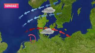Efter lavtrykket er trukket mod syd, er der nu fri bane for den kolde luft fra nordøst.