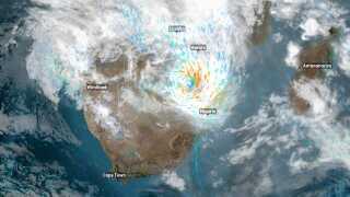 Cyklonen Dineo og dens placering fredag morgen d. 17. februar 2017.