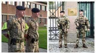 Til venstre ses soldaterne ved grænsen. Til højre ses de mere bevæbnede soldater ved bevogtningsopgaver.