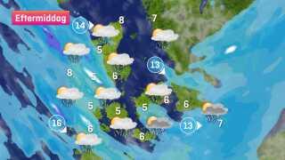 Lidt hvidt kan ses i prognosen, det er ikke sne, da temperaturen er for høj, men der er risiko for hagl eller torden.