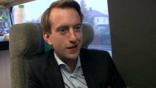 Udviklingschef i SJ Biz, Christoffer Löfquist, i toget mod Malmø.