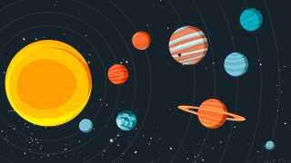Sådan ser det ud vores solsystem. Tættest på Solen er Merkur, herefter de tre øvrige indre planeter: Venus, Jorden og Mars og de ydre planeter: Jupiter, Saturn, Uranus og Neptun. Til sidst er der dværgplaneten Pluto, der med sine 1185 km i radius er ganske lille.