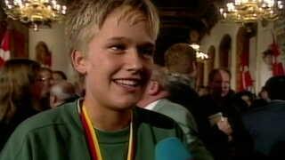 En glad Merete Møller på Københavns Rådhus efter VM-sejren i 1997.