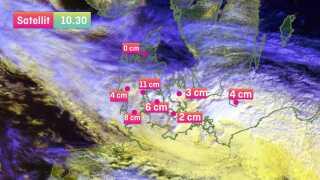 Morgenstundens målinger fra DMI fortæller, at Kolding får præmien for den dybeste sne med 11 cm.