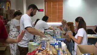 Rådhuset i Rafina er blevet omdannet til base for det græske Røde Kors, hvor de organiserer den hjælp, der skal ud til de brandramte områder.