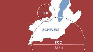 Så stor bliver CERNs kommende partikelaccelerator, FCC; i forhold til den nuværende, LHC.