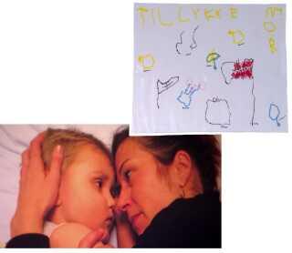 Marius var glad for at tegne og lave perleplader. Han tegnede blandt andet den her fødselsdagshilsen til sin mor.