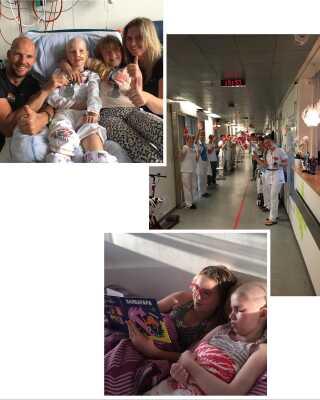 Alberte har været indlagt af flere omgange - blandt andet for at få knoglemarvstransplantationer. Familien har brugt mange timer på hospitalet. Nu foregår en stor del af behandlingen i hjemmet takket være det børnepalliative team.