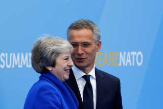 Storbritanniens premierminister Theresa May og NATO's generalsekretær Jens Stoltenberg.