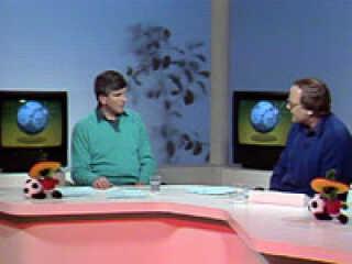 Svend Gehrs og Tommy Troelsen i VM-studiet 1986