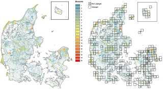 Et samarbejde mellem Københavns og Aarhus Universitet har udpeget 3.600 kvadratkilometer artsrig natur, hvor vi bedst kan beskytte arterne, hvis halvdelen af Danmarks naturarealer med løvskov og åben privat- og statsejet natur på land udpeges til en målrettet naturindsats (kilde: Biodiversitetskort for Danmark).