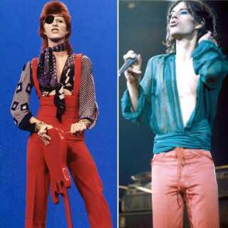 Tv. den britiske sanger David Bowie i tv-showet TopPop i 1974. Th. Mick Jagger og Rolling Stones optræder på Madison Square Garden i 1975.