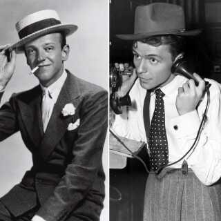 Tv. ses danser og skuespiller Fred Astaire i 1933 under indspilningerne til filmen 'Dancing Lady'. Th. en ung Frank Sinatra i 1940 i begyndelsen af sin karriere som skuespiller og sanger.