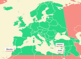 Grafikken viser det sendeområde,som EBU sender i