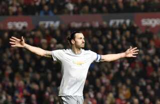 Zlatan Ibrahimovic her efter en scoring for Manchester United.