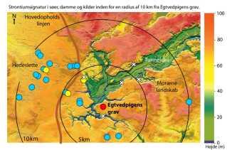 Her ses forskernes data. De blå pletter viser steder med høje værdier, der ligner de tyske, og de gule dem, man traditionelt har tænkt som danske værdier.
