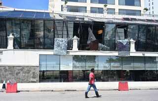 Den ødelagte restaurant på Kinsbury Hotel.