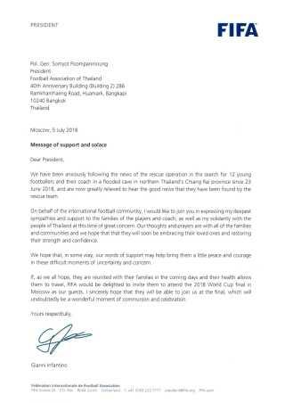 Her kan du læse FIfas brev til det thailandske fodboldforbund.