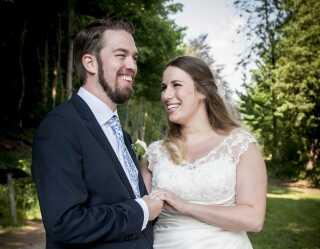 Michael og Kathrine på deres bryllupsdag.