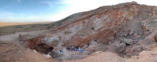 Området Jebel Irhoud i Marokko, hvor forskerne har udgravet de knogler, som studiet bygger sin konklusion på.