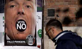 En valgplakat for en højreorienteret bevægelse opfordrer vælgerne til at stemme nej.