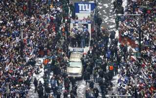 New York Giants her ved sejrs-paraden i hjembyen efter Super Bowl-triumfen i 2008.