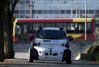 En selvkørende bil blev testet i London i oktober 2016.