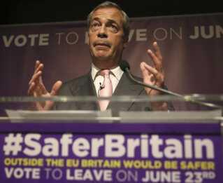 Lederen af 'United Kingdom Independence Party' Nigel Farage til et pro-Brexit event i London den 3. juni 2016.