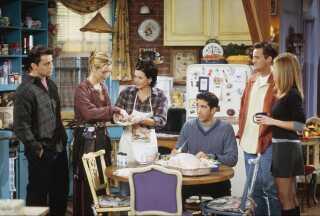 De seks karakterer i 'Venner' spilles af (fra venstre) Matt LeBlanc (Joey Tribbiani), Lisa Kudrow (Phoebe Buffay), Courteney Cox, (Monica Geller), David Schwimmer (Ross Geller), Matthew Perry (Chandler Bing) og Jennifer Aniston (Rachel Green).