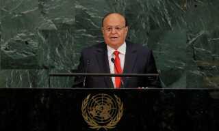 Præsident Abdrabbuh Mansour Hadi Mansour talte til FN's generalforsamling i september i år.