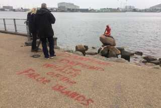 """Foran Den Lille Havfrue er der tirsdag morgen med rød farve skrevet """"Danmark defend the whales of the Faroe Islands"""" - på dansk: """"Danmark, beskyt Færøernes hvaler""""."""