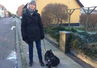 Susanne Stage fra Skælskør er træt af at zig-zagge mellem hundelorte, når hun lufter Jalte.