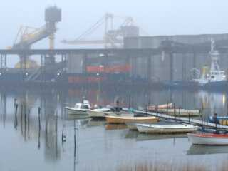 Gennem snevejret ses de orange bannere, som klimaaktivister har hængt op på Enstedværket syd for Aabenraa.