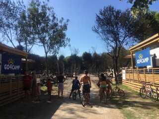 Folk ser ind på det nedbrændte campingområde.