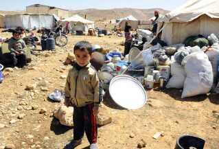 Et syrisk flygtningebarn nær grænsebyen Arsal, i den østlige Bekaa-dal, Libanon.