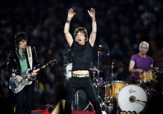 Mick Jagger i front for Rolling Stones i Detroit, Michigan.