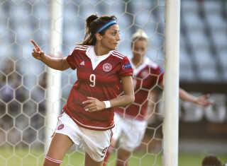Nadia Nadim er brandvarm for tiden og scorede blandt andet to mål i Danmarks sidste kamp mod Moldova.