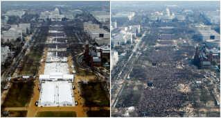 Selv præsidenter benytter sig af fake news: USA's præsident Donald Trump påstod, at der var flere tilskuere til hans indsættelse i 2017, ned til Barack Obamas i 2013. Men de to billeder - Trumps indsættelsesfest til venstre, Barack Obamas til højre - viser, at det ikke passer.