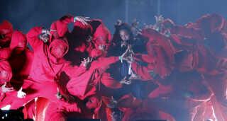 Kendrick Lamar på scenen ved årets Grammy Awards i USA.