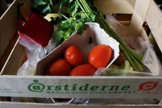 Kasse med økologiske råvarer fra Aarstiderne. Virksomheden leverer ugentlige over 40.000 måltidskasser til danske familier.