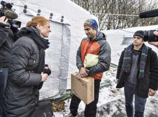 Udlændinge, integrations- og boligminister Inger Støjberg (V) besøgte mandag den nyoprettede flygtningelejr hos Beredskabscenter Thisted.