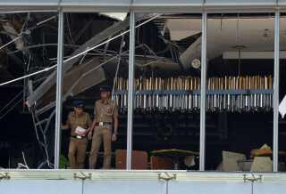 Her ses hotellet Shangri-La, hvor der som det eneste sted under søndagens angreb blev detoneret to bomber.