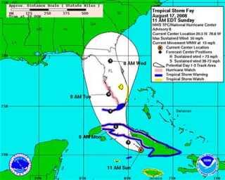 Kort over Fays forventede rute ind over Florida.