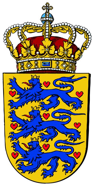 'Statsvåbenet' tegnet til officiel brug i 1991 af Aage Wulff. Løverne har været kronede siden 1200-tallet, mens antallet af hjerter i 1500-tallet blev reduceret til ni. Kilde: Den Store Danske