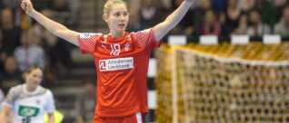Denmark's Mette Tranborg celebrates a goal during the IHF Women's World Championship round of sixteen handball match Denmark vs Germany in Magdeburg, eastern Germany, on December 10, 2017. / AFP PHOTO / dpa / Klaus-Dietmar Gabbert / Germany OUT