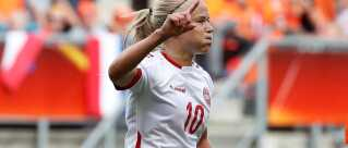 Soccer Football - Netherlands vs Denmark - Women's Euro 2017 Final - Enschede, Netherlands - August 6, 2017 Denmark's Pernille Harder celebrates scoring their second goal REUTERS/Yves Herman