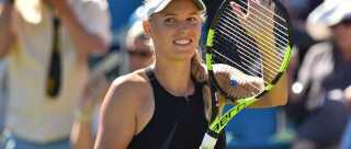 Caroline Wozniacki under WTA-turneringen i Eastbourne, som hun vandt.
